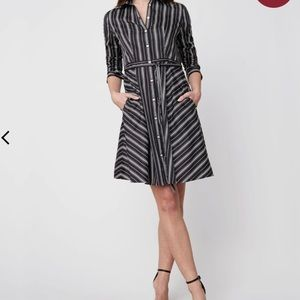 Untuckit Willow Striped Belted Shirt Dress Size 6